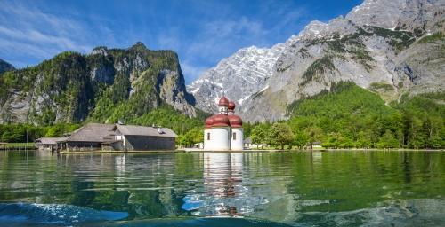 Königssee lake with St. Bartholomä pilgrimage chapel in summer, Bavaria, Germany