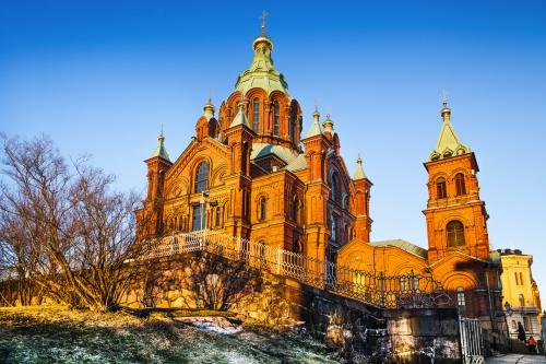 Uspenski Cathedral bei Sonnenuntergang,Helsinki,Finnland