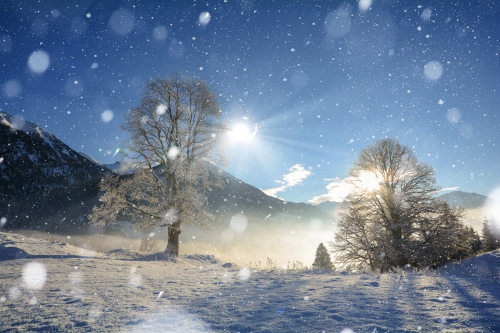 Winterlandschaft in den österreichischen Alpen bei Salzburg