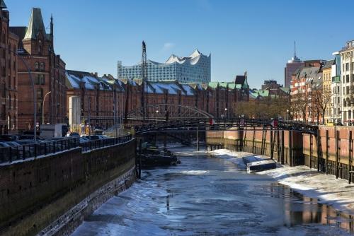 Speicherstadt von Hamburg im Winter, Deutschland
