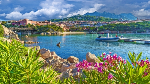 View of harbor and village Porto Cervo, Olbia Tempio region, Sardinia island, Italy