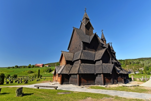 Heddal stave church and cemetery, Norway