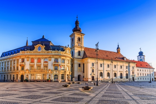 Sibiu, Romania. City Hall and Brukenthal palace in Transylvania.