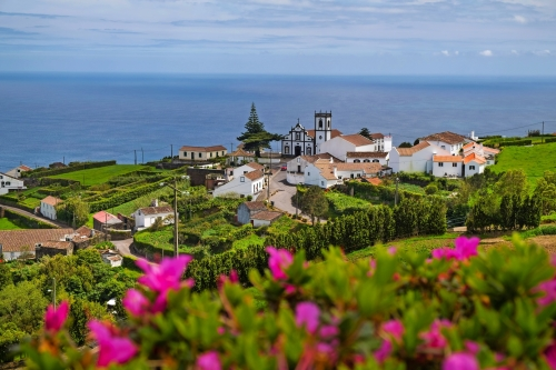 Beautiful view of the village in Nordeste against Atlantic Ocean, Sao Miguel Island, Azores, Portugal.