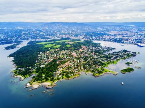 Luftbild von Bygdoy,Oslo