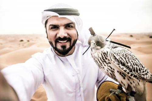 Araber Mann in der Wüste mit seinem Falken