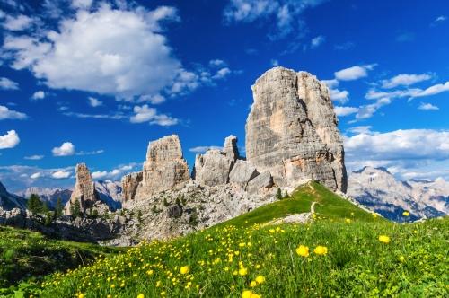 Cinque Torri: die fünf Säulen in den Dolomiten in Südtirol, Italien