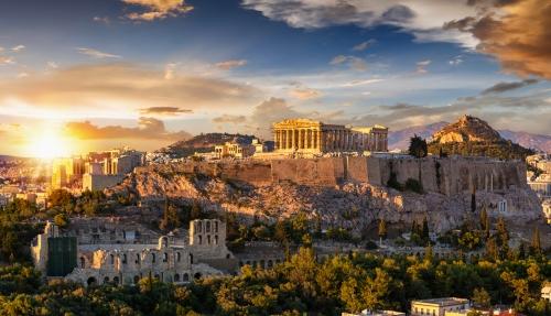 Sonnenuntergang über der Akropolis von Athen mit dem Parthenon, Griechenland