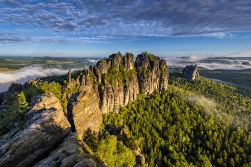 die Schrammsteine des Elbsandsteingebirges in Sachsen, Deutschland