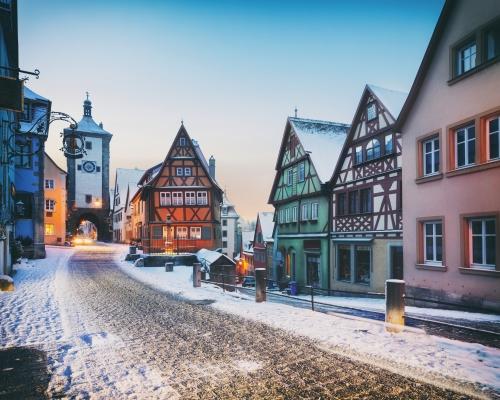 winterliches Rothenburg ob der Tauber in Bayern, Deutschland