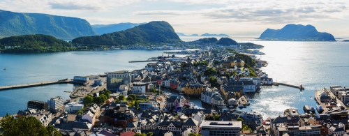 Picturesque panorama of Alesund port town