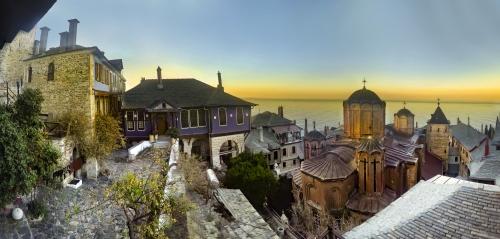Internal view of Monastery at Holy Mount Athos, Chalkidiki, Greece