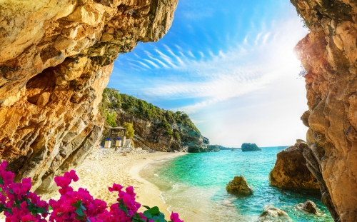 Beautiful view over the beach in Corfu, Pelion, Mylopotamos - Greece