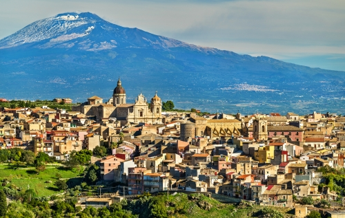 View of Militello in Val di Catania with Mount Etna in the background - Sicily, Italy