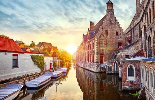 Bruges, Belgium. Medieval ancient houses made of old bricks