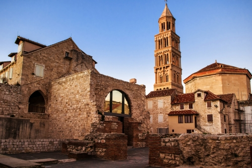 Scene from the old city of Split and the view of old bell tower