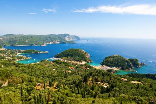The bay of Palaiokastritsa with the monastery. Corfu, Greece.