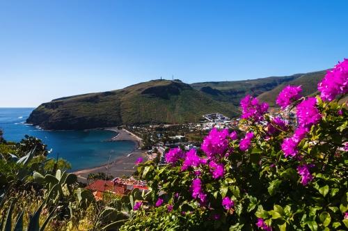 Playa de Santiago village in mountain valley, La Gomera island
