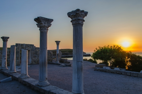 Ruins of ancient greek colony Khersones. Sunset, Sevastopol