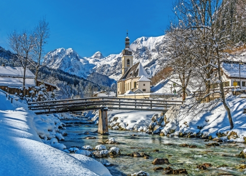 Winter landscape with church in Bavarian Alps with famous Church, Germany