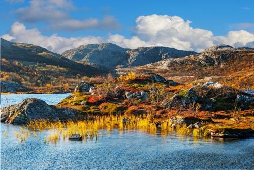 herbstliche Berglandschaft in Norwegen