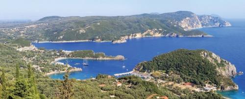 Paleokastritsa gulf on Corfu island, Greece