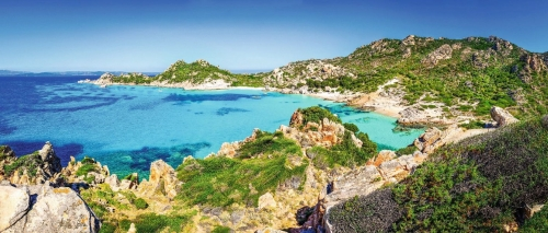 Beautiful coastline beach panorama in Maddalena islands, Italy