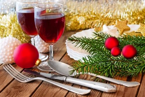 Weihnachten - Abendessen und Wein