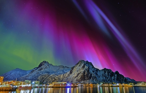 Nordlicht in Svolvaer, Norwegen