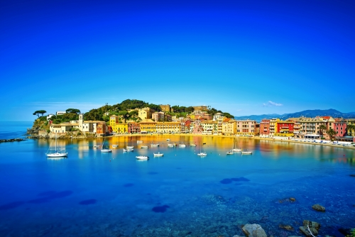 Sestri Levante, Stille Bucht Meer Hafen und Strand Blick. Ligurien,