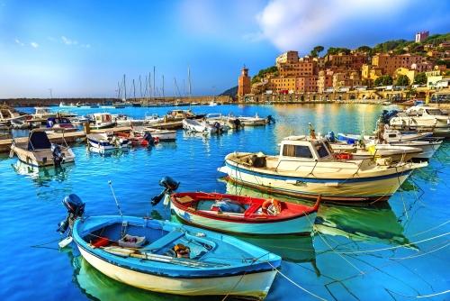 Hafen und Dorf Rio Marina, Elba Inseln, Toskana, Italien