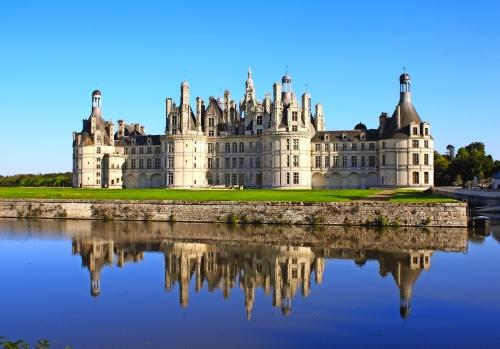Chateau Chambord Schloss mit Reflexion, Loire-Tal, Frankreich