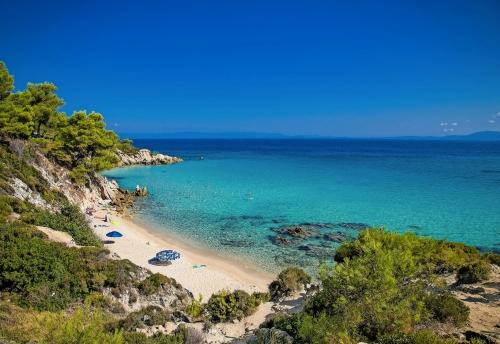 Schöner Mega Portokali Strand an der Ostküste von Sithonia, H