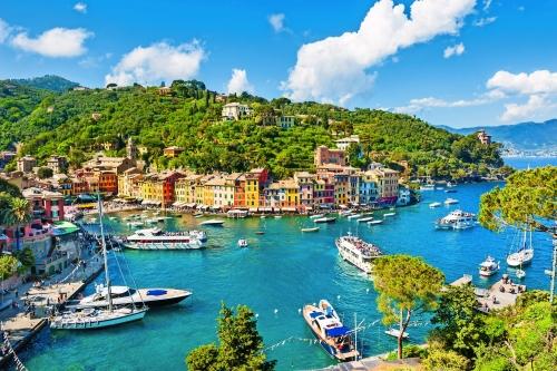 Schöne Aussicht auf Portofino, Ligurien, Italien