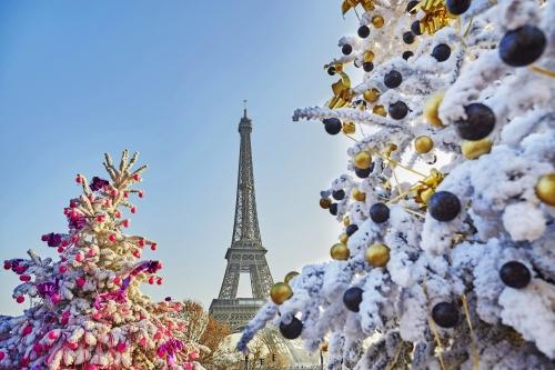 Weihnachtsbaum bedeckt mit Schnee nahe dem Eiffelturm in Paris