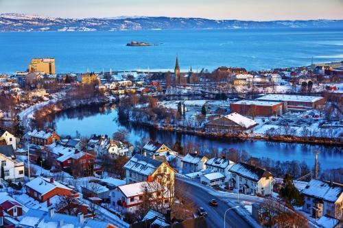 Winteransicht von Trondheim in Norwegen