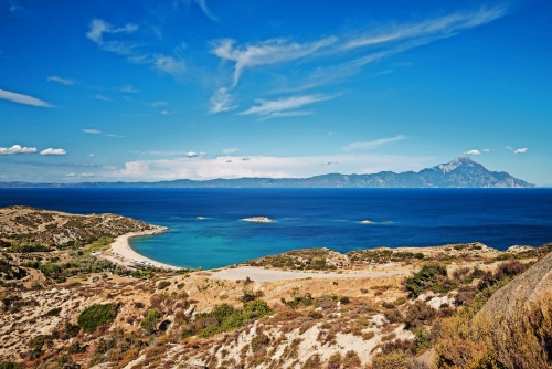 Panorama von Sithonia im Sommer, Chalkidiki-Halbinsel, Griechenland