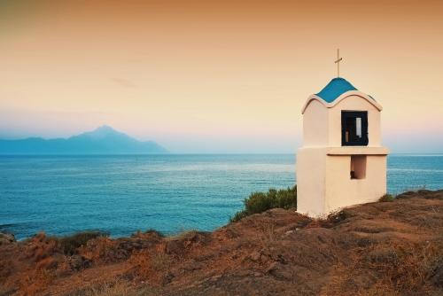 Religiöse Kapelle entlang der Ägäis, Chalkidiki, Griechenland