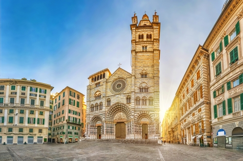 Panorama of Piazza San Lorenzo in the morning with Cathedral of Genoa, Italy